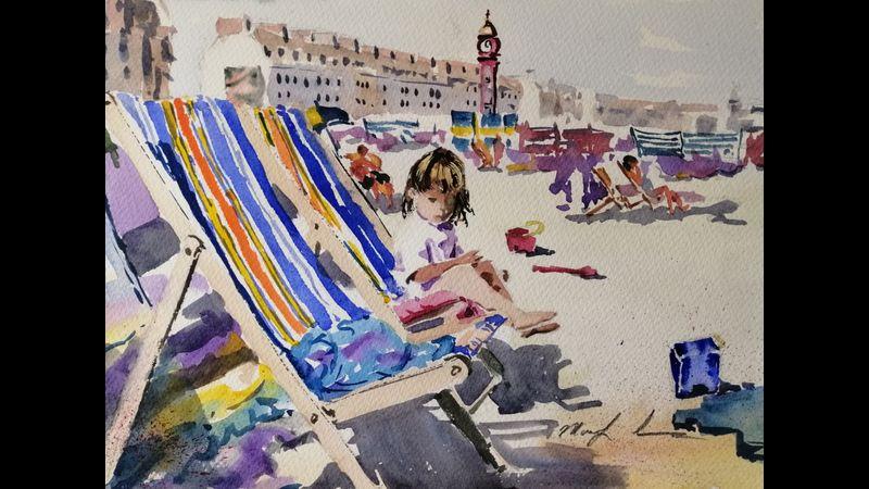 Weymouth Beach in watercolour