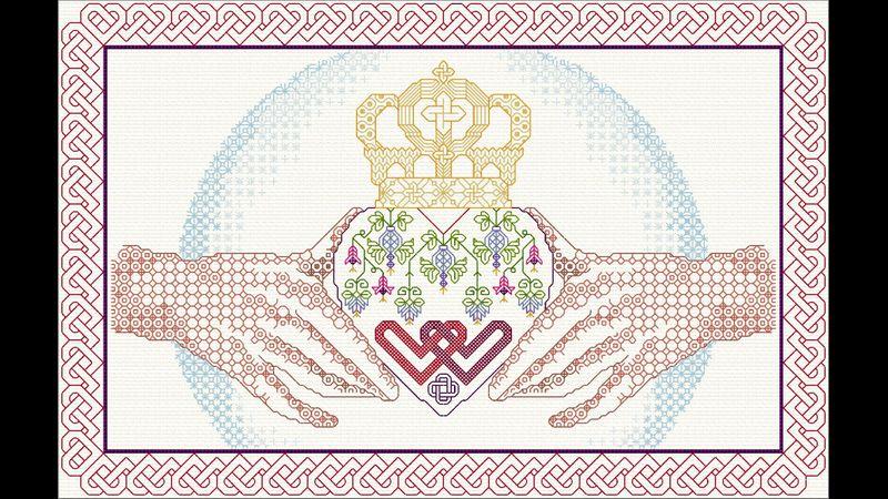 DoodleCraft Design Blackwork embroidery Claddagh