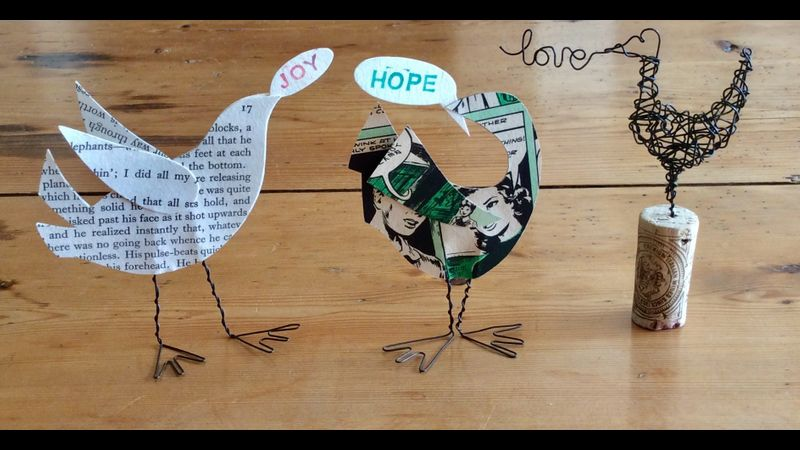 Paper and wire festive birds to decorate your home this Christmas.
