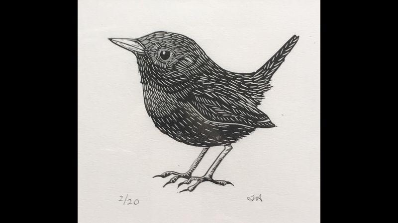 Limited edition linocut Wren print