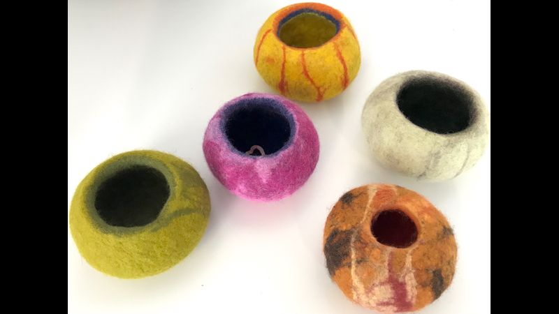 Merino wool tops felted vessels made by workshop students