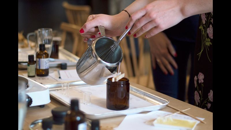 Pouring the soy wax at our workshops