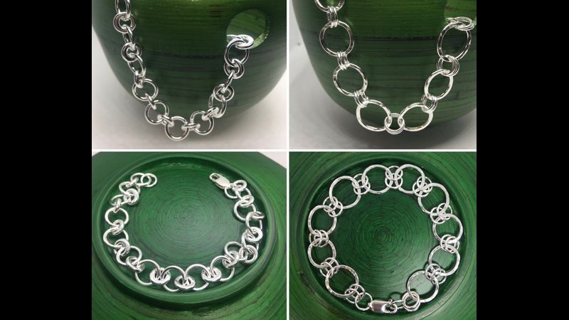 Silver Link Charm Bracelet Examples