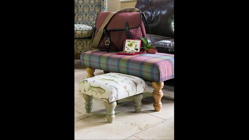 Wool tartan with hand-turned legs. Voyage fish with hand-painted legs