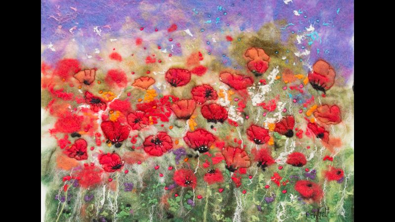 Poppyfields - hand felted pure merino wool & silk with free machine embroidery & hand stitching