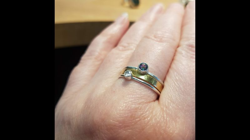 Loving this mystic quartz with an heirloom gold ring, simple clear cz, to make a perfect stacker set