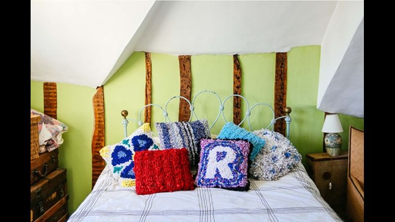 Loopy and Shaggy Rag Rug Cushions