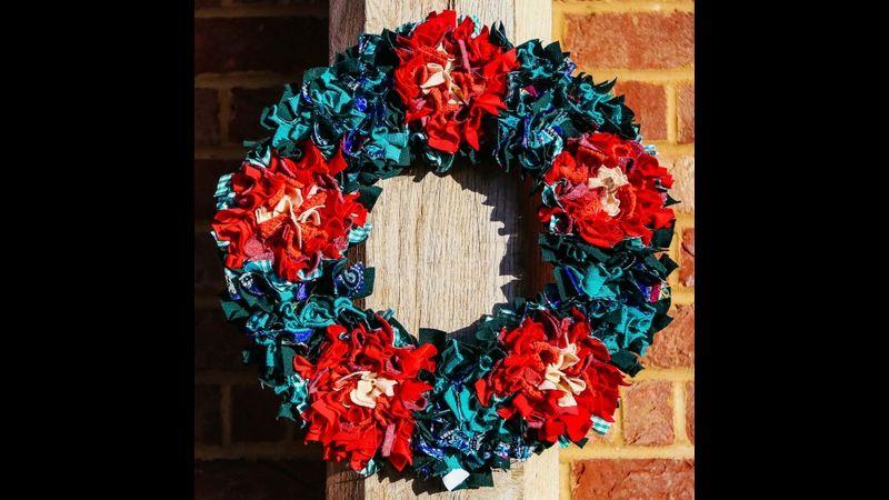 Festive Rag Rug Wreath