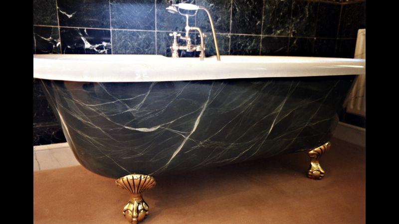 Hand painted dark green faux marbled bath