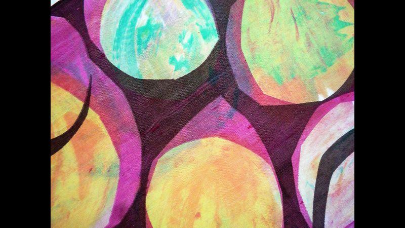 Layered silkscreen print created in Haddenham, Cambridgeshire