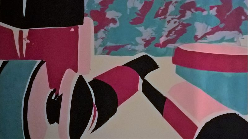 Layered paper stencil still life with 'splat' background