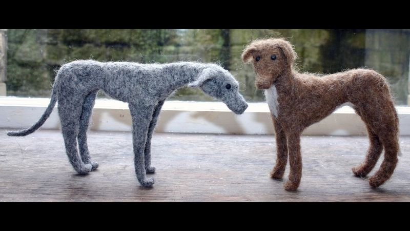 Two felted dogs - students
