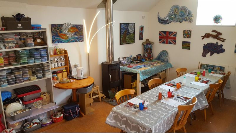 Moon Hare Studio in Holsworthy all ready for the mosaic workshop
