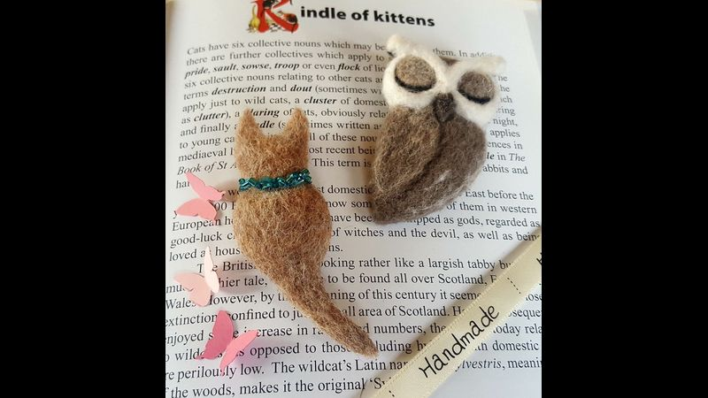 Owl Brooch Needle Felting