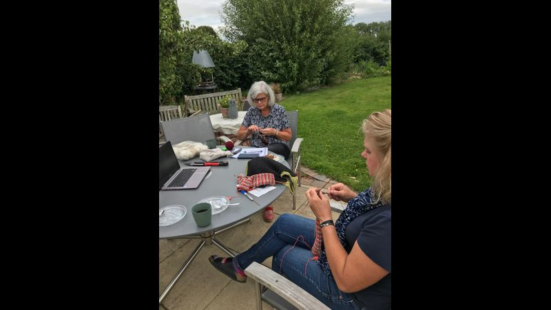 Knitting in the garden