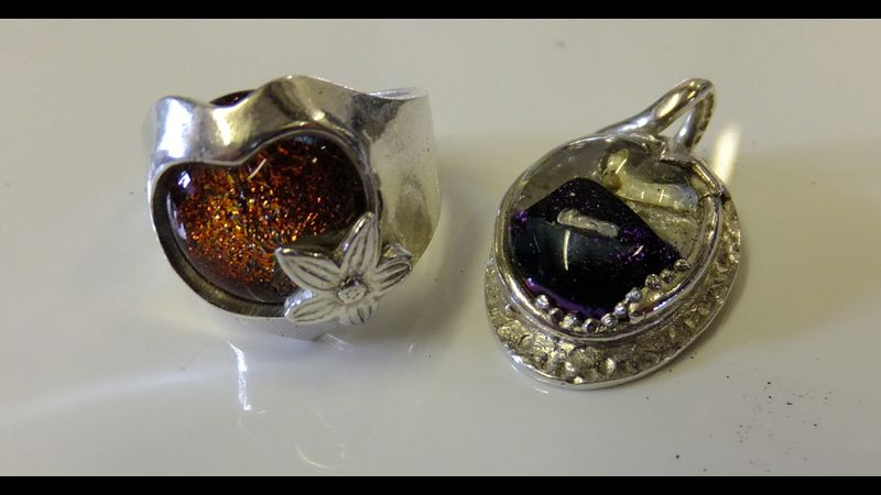 Dichroic glass in silver clay ring and pendant