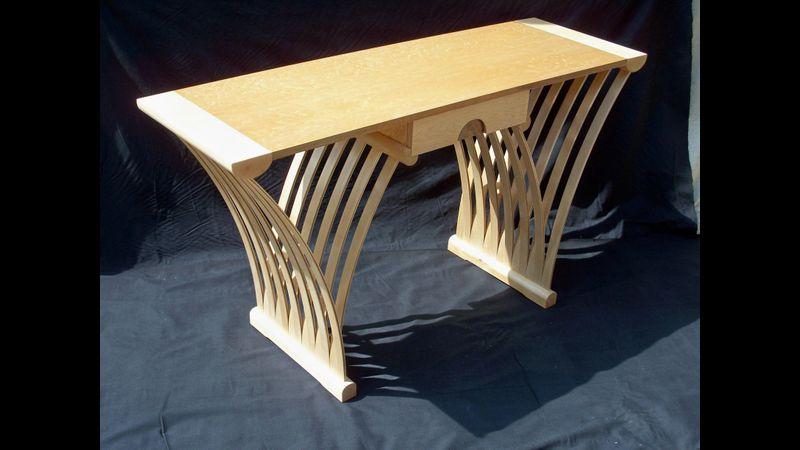 """""""W"""" table in Bird's eye Maple,Maple & Walnut. Created by Adrian Parfitt"""
