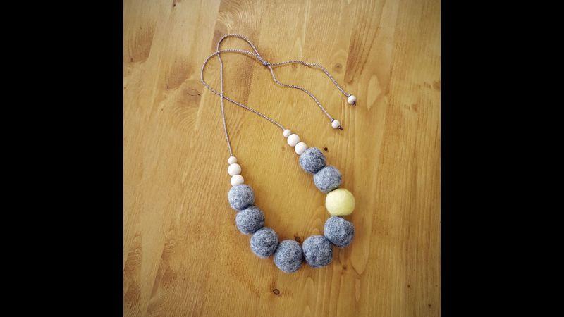 Felted bead necklace on silk thread
