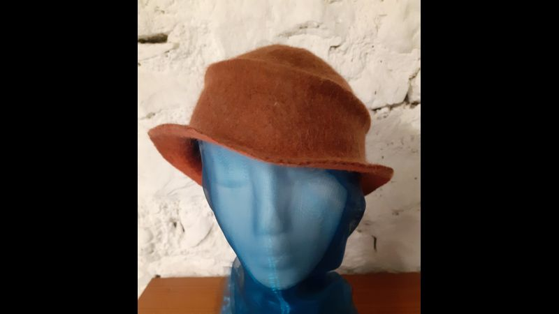 Wet felted hat with brim