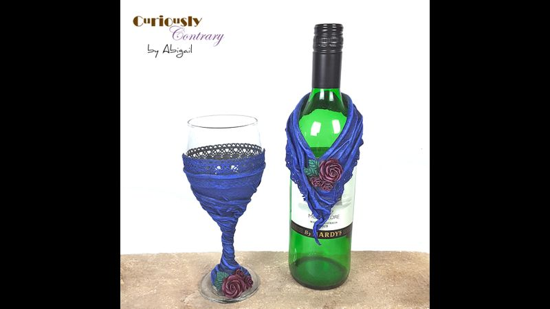 Blue Goblet with Matching Bottle Collar by Curiously Contrary