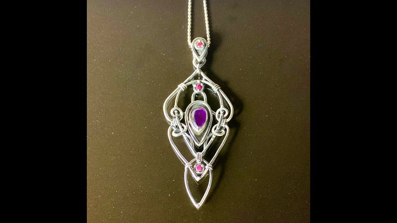 Inspired by Art Nouveau Silver Clay Pendant by Tracey Spurgin