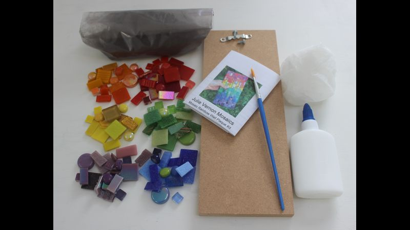 Rainbow mosaic wall plaque - kit contents