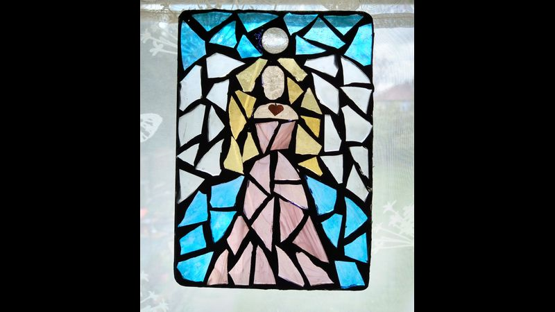 Stained glass mosaic angel kit