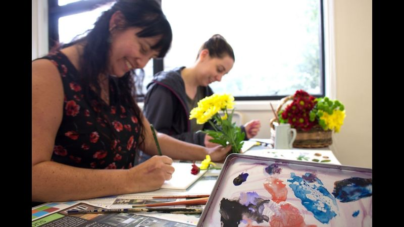 Exploring the art of adding ink to your watercolours at Flatford Mill