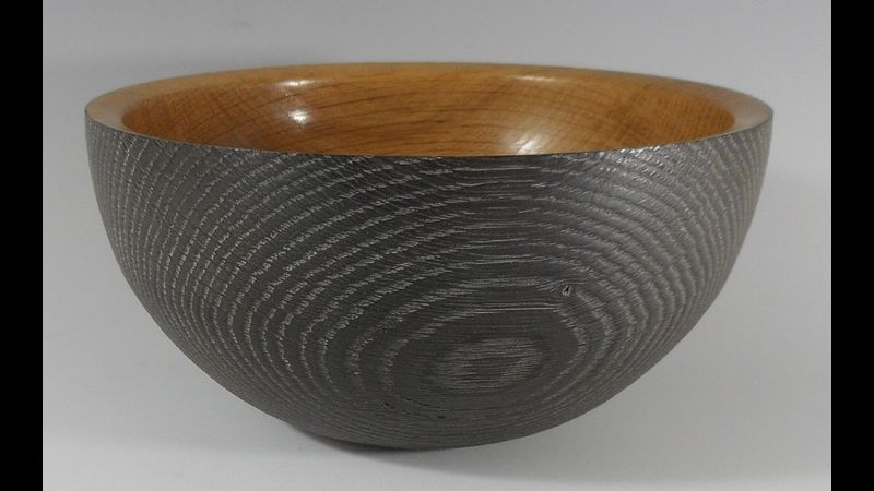 Scorched oak bowl