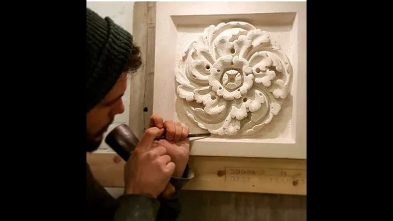 Josh working on a limestone Gothic revival rose