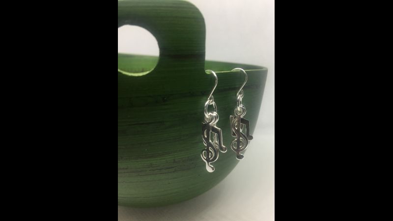 Sterling Silver music notes drop earrings