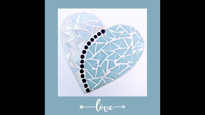Light Blue and White Iridescent Mosaic Love Heart Mosaic Kit