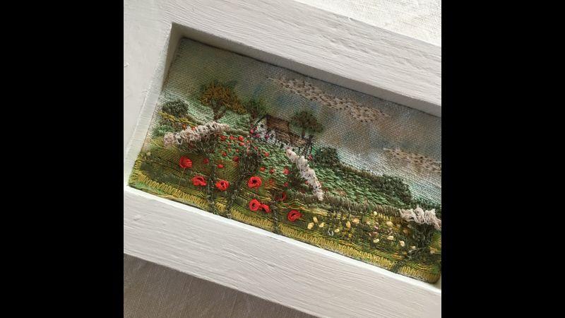 Drawn, hand painted & textile landscape