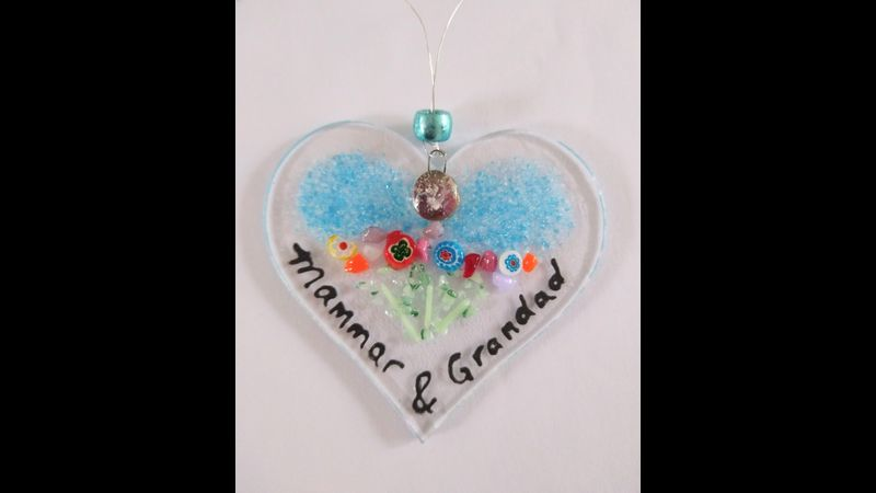 Ashes to Glass Heart Sun Catcher 8cm
