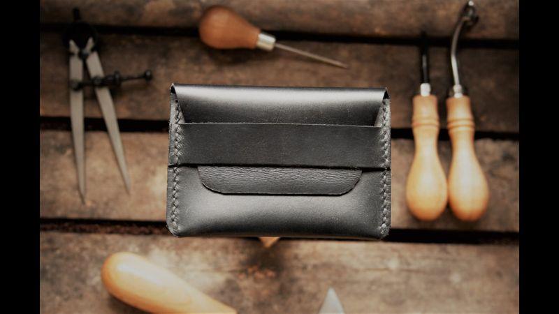 Black Leather Handcrafted Credit Card Holder