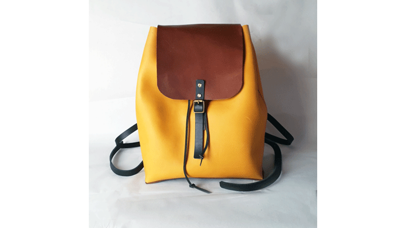 The front of the DIY backpack with buckle and flap closure