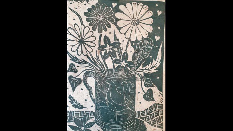 Still life vase of flowers