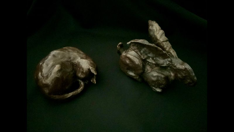 Hare and Sleeping Cat finished sculptures - except you can make them how you wish!