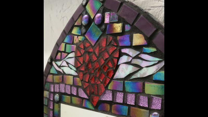 winged heart mosaic mirror - close-up