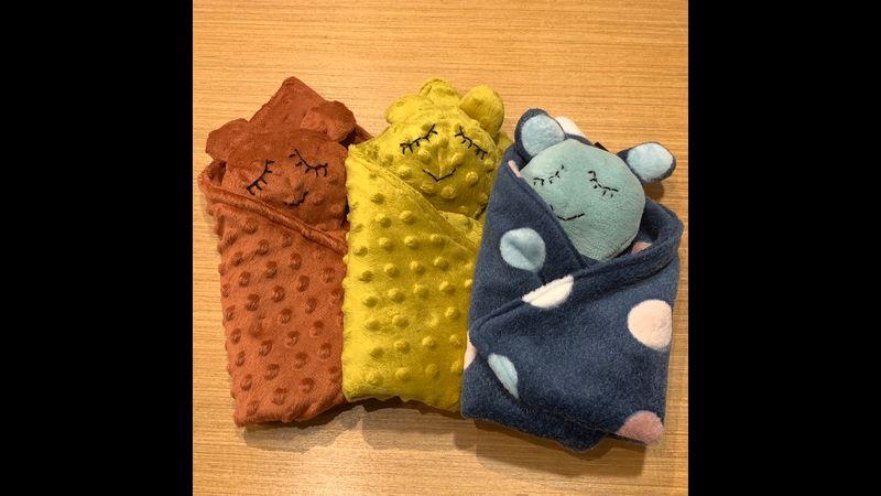 3 colour ways: Dimples - Brick, Dimples - Ochre, Spots - Navy