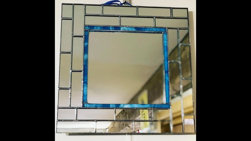 Glass Mirror with color band