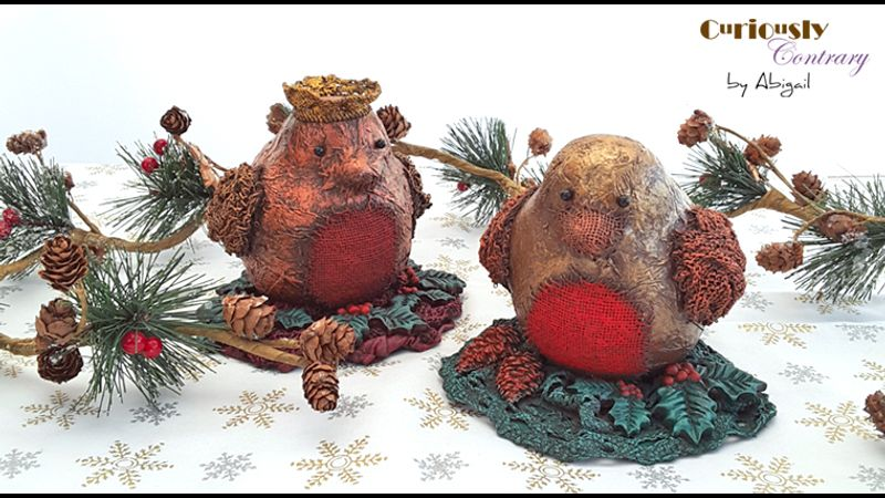 Festive Robin Decorations by Curiously Contrary