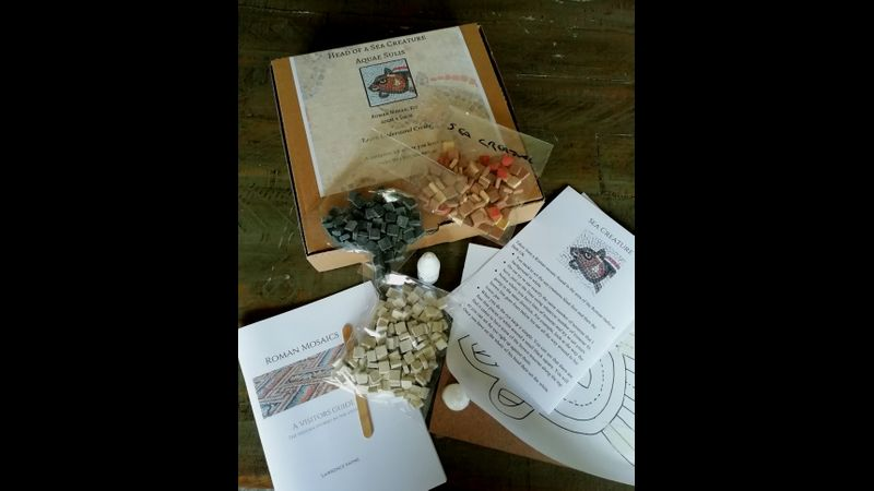 Kit contents for Head of a Sea Creature Roman mosaic kit
