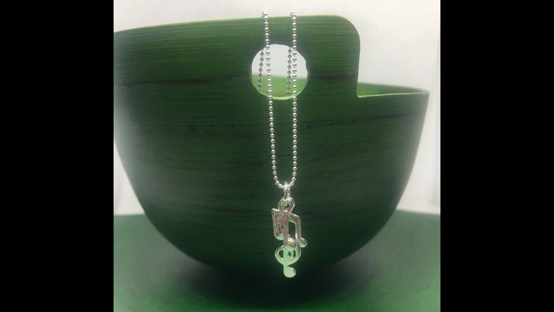 Sterling Silver Musical Note Charm Necklace