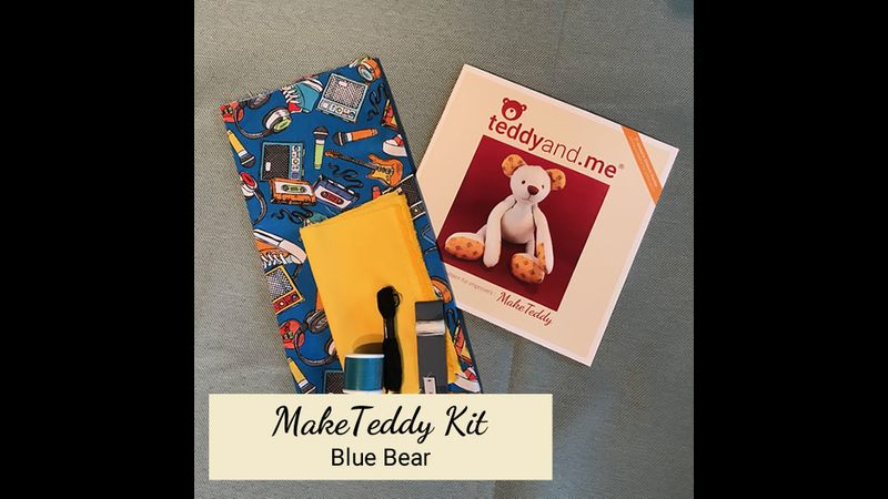 MakeTeddy Sewing Kit - Blue Bear - Contents