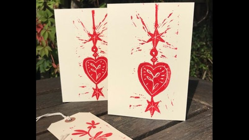 Christmas Cards printed from a linocut