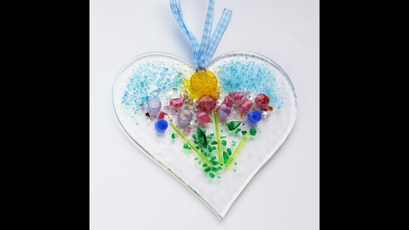 medium fused glass heart pair kit