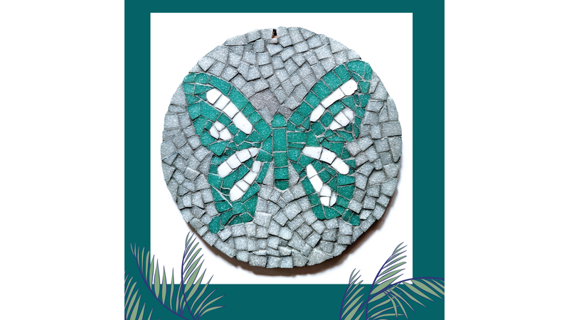 Turquoise and white round butterfly mosaic kit