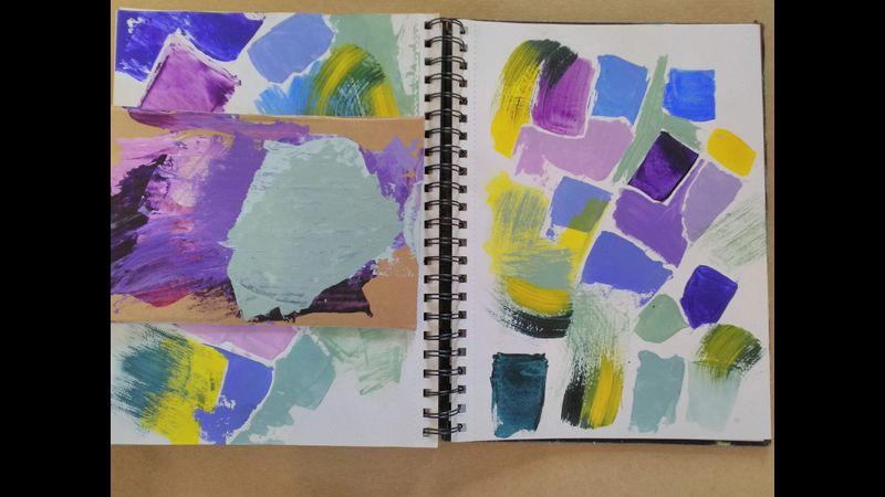 Colour mixing sketchbook page