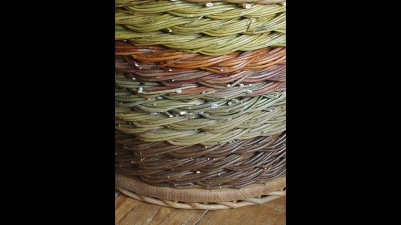 Different coloured bands of rope weave.
